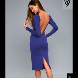 Lulu's S M Royal Blue Midi dress Ponte Va Va Voom